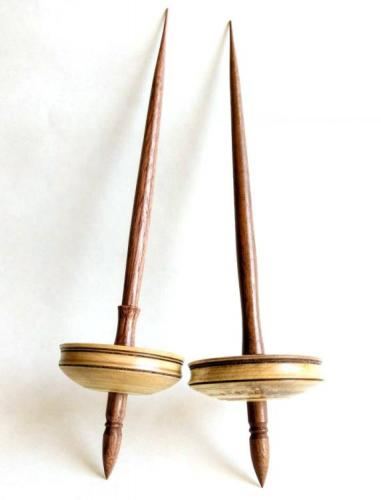 Tibetan Spindles with Silver Maple Whorls with Embedded Copper
